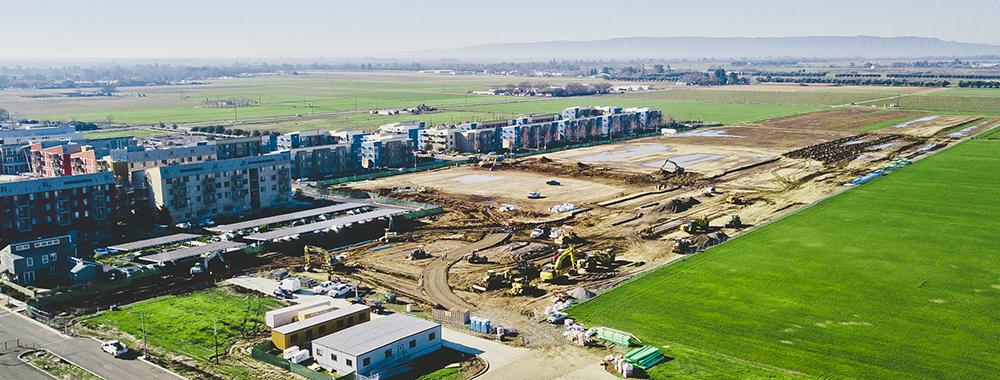 aerial shot of a construction site at uc davis