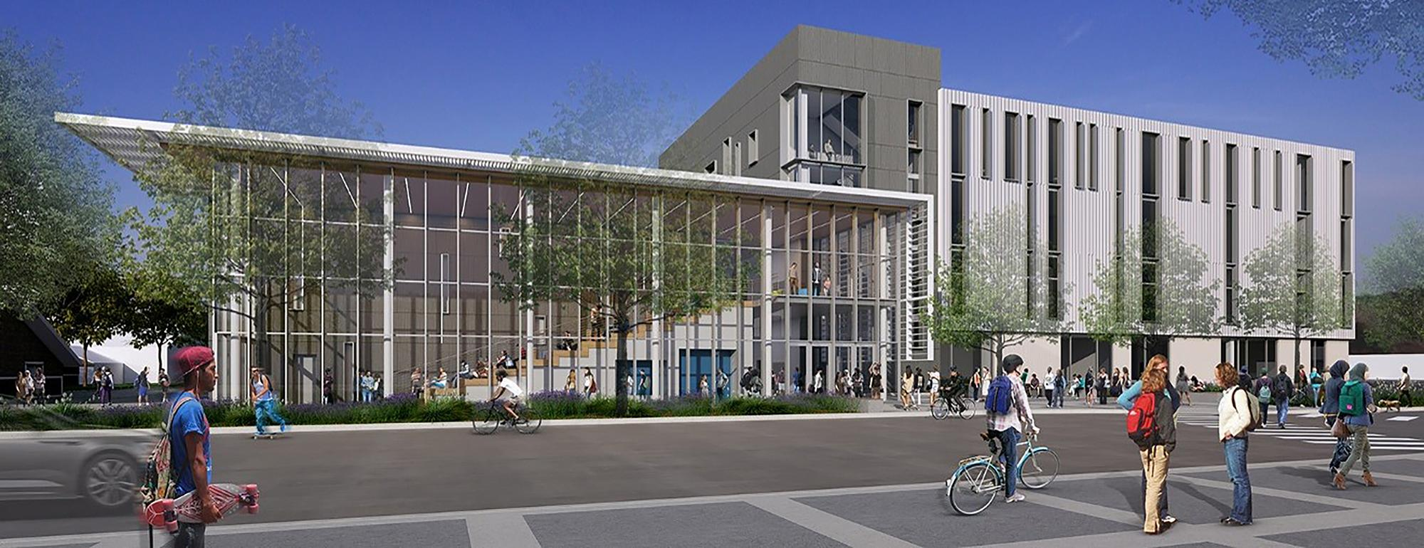Rendering of the north elevation of UC Davis' Teaching and Learning Complex.