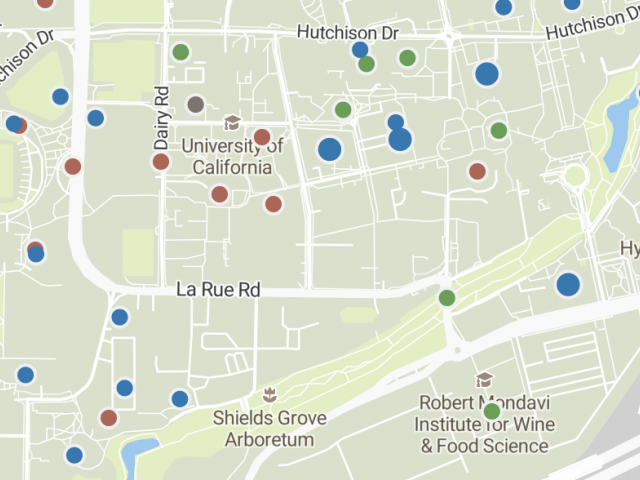 Image from interactive map showing all active construction projects on the Davis campus of UC Davis.