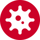 Virus icon on red background.
